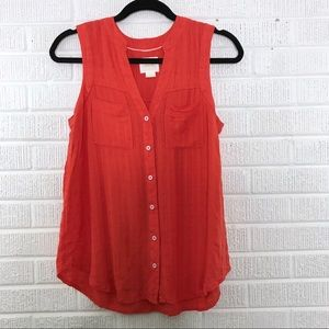 Anthropologie Maeve Button Down Sleeveless Blouse